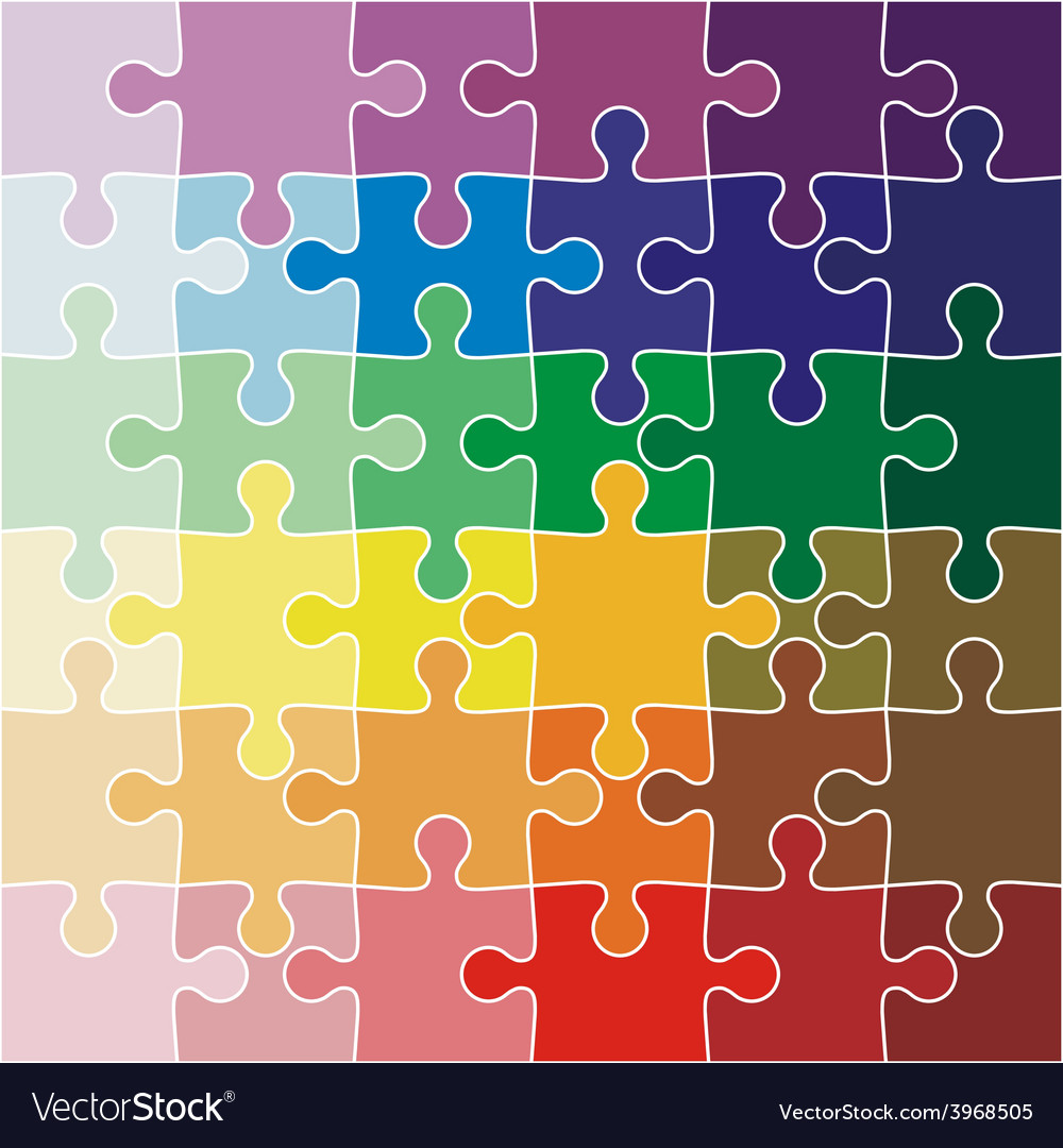 Jigsaw puzzle color of the rainbow vector