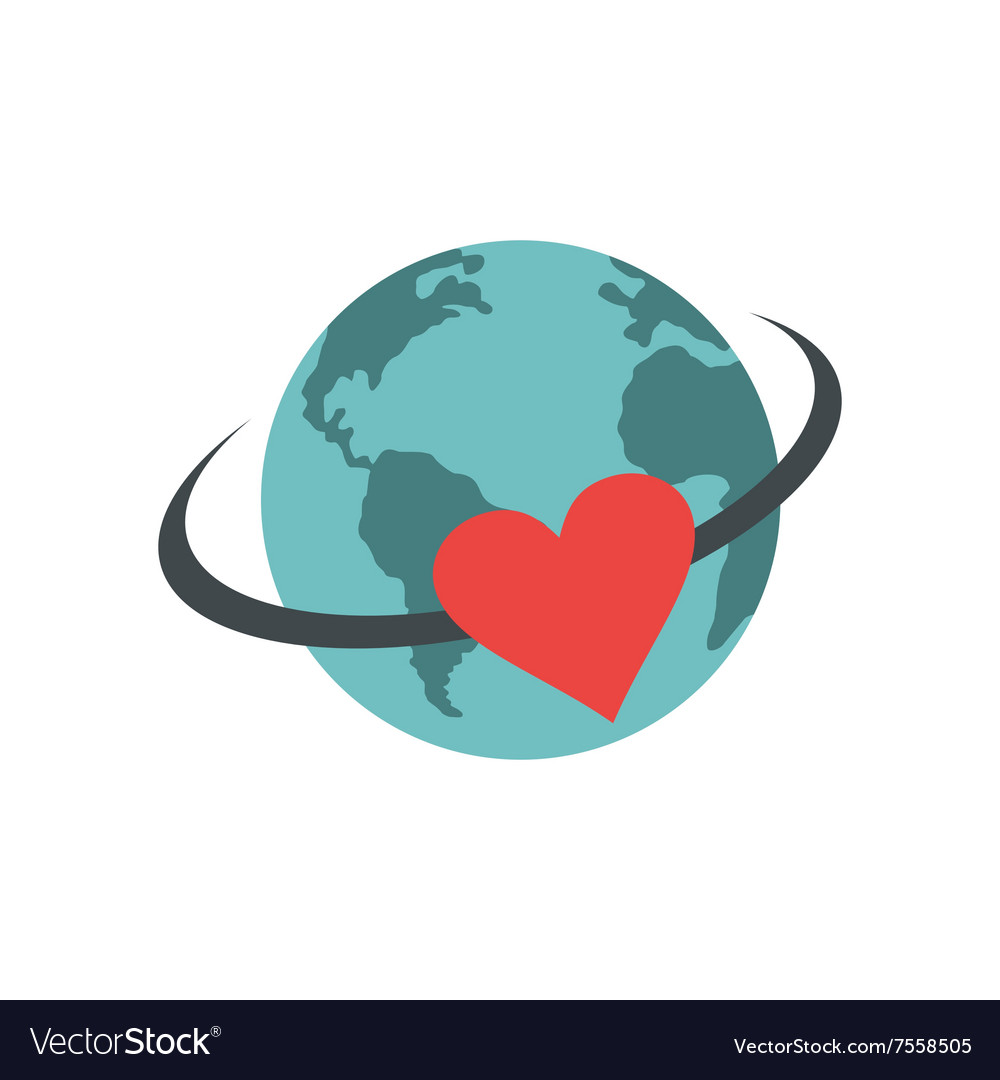 Love the earth flat icon vector