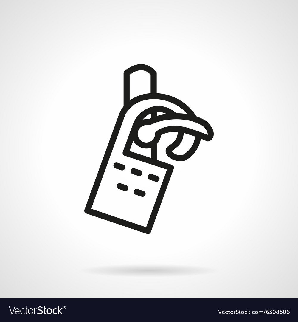 Tag on door black line icon vector