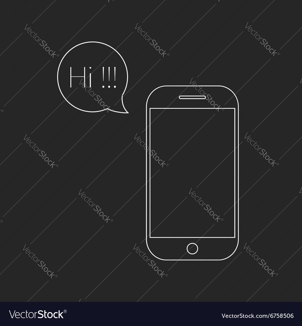 White outline smartphone and speech bubble with hi vector