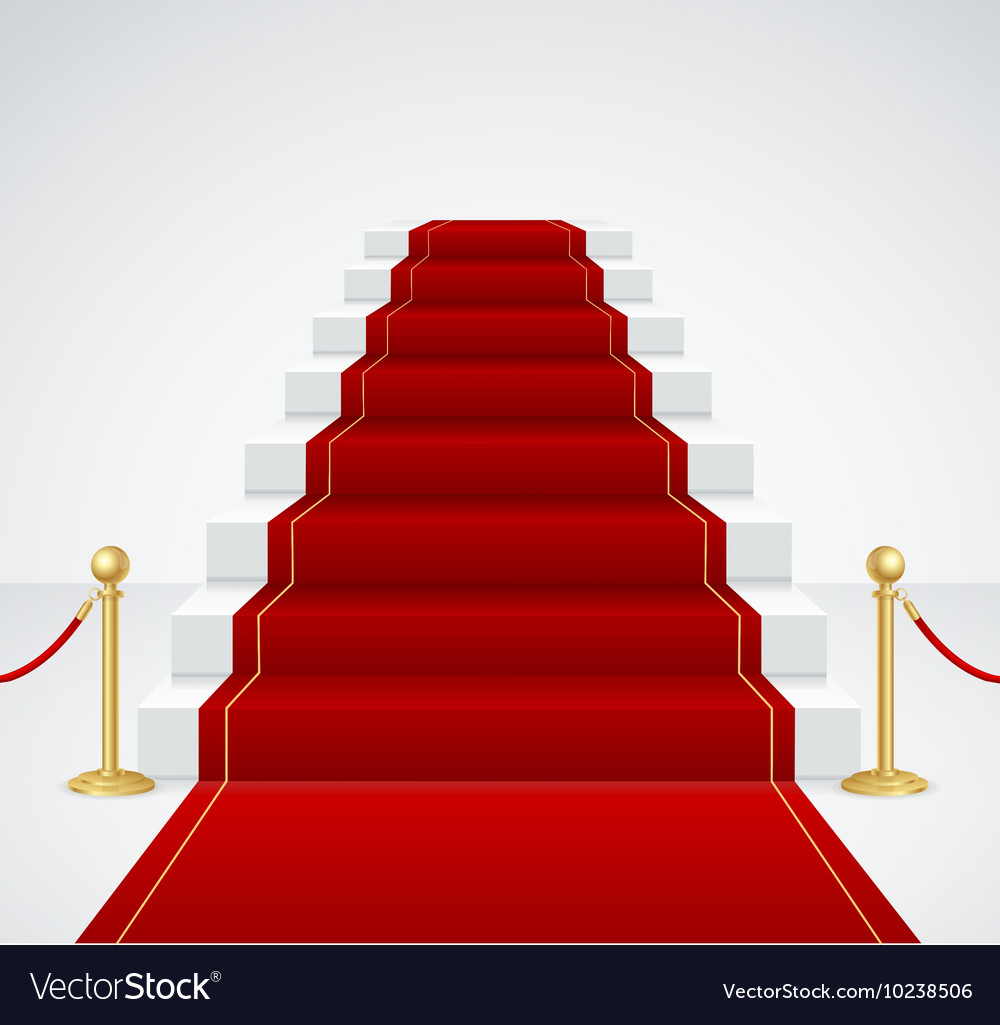White staircase and red carpet vector