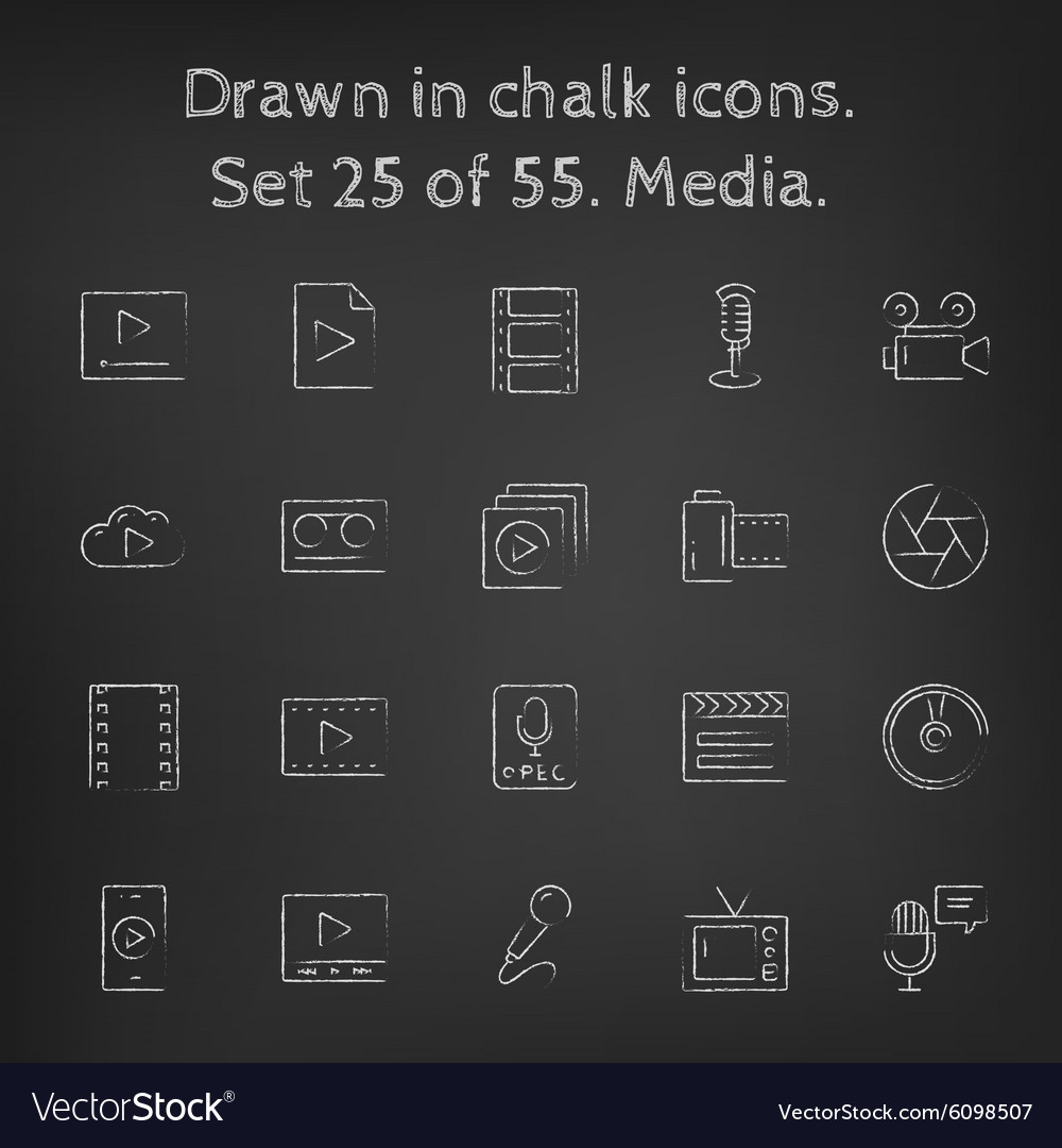 Media icon set drawn in chalk vector