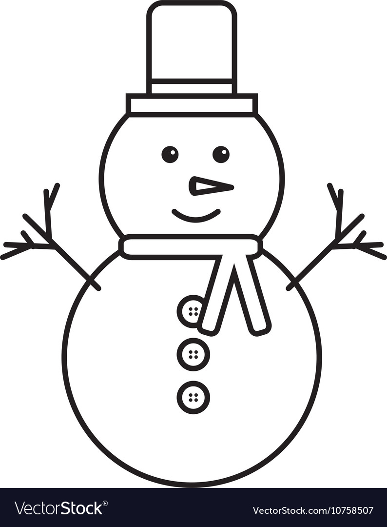 Merry christmas snowman character icon vector