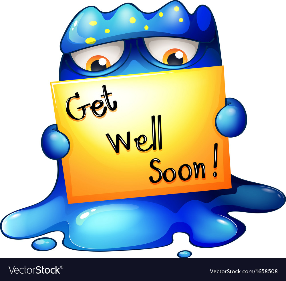 A blue monster holding a getwellsoon card vector