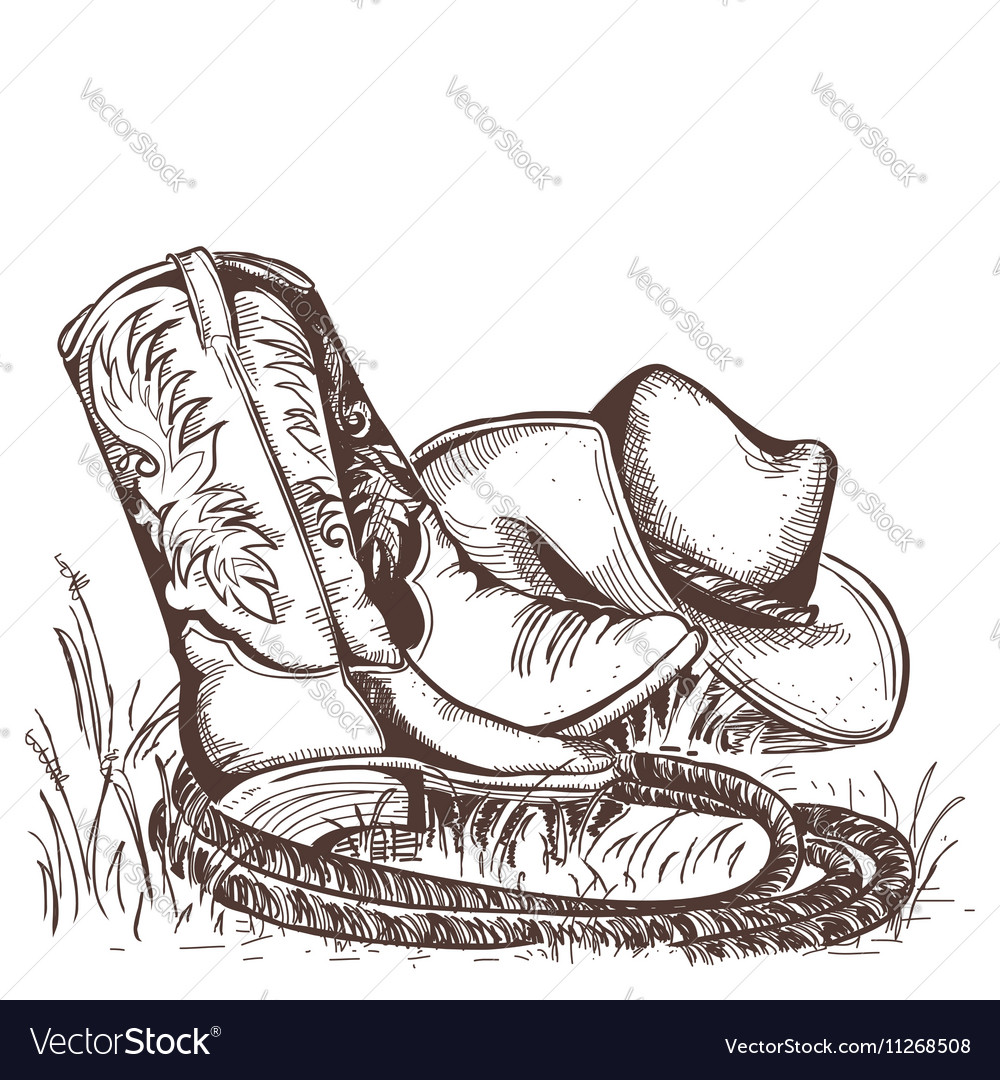 American cowboy boots and west hat vector