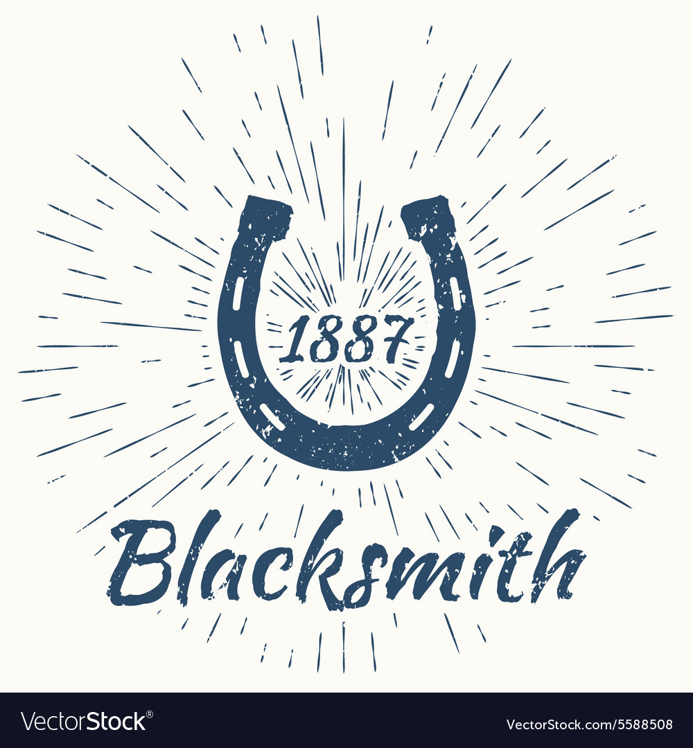 Horseshoe and vintage sun burst frame blacksmith vector