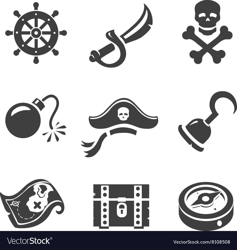 Pirate icons skull and chest pirates treasure vector