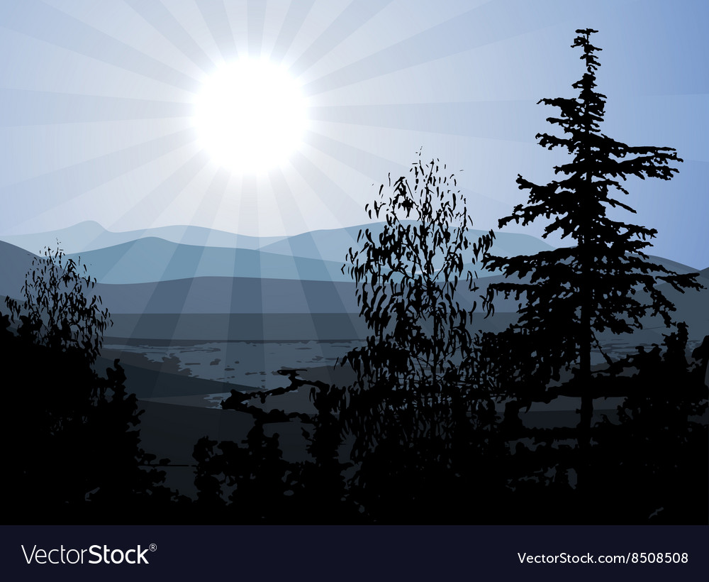 Scenic of mountains and valleys vector