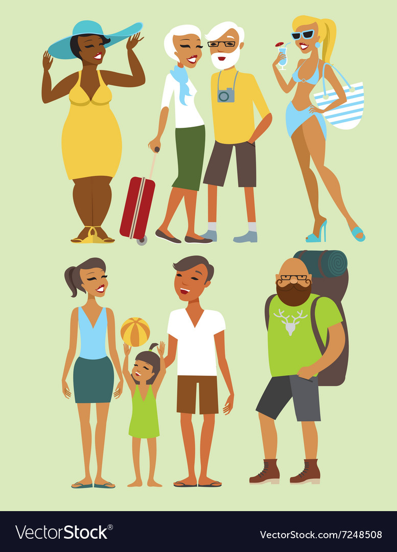 Vacation people character set vector