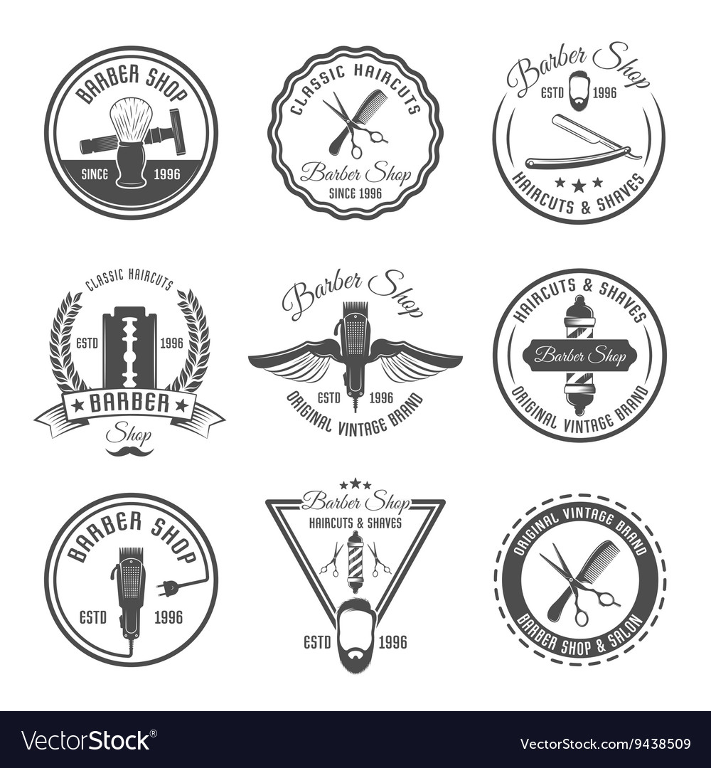 Barber emblem or label set vector