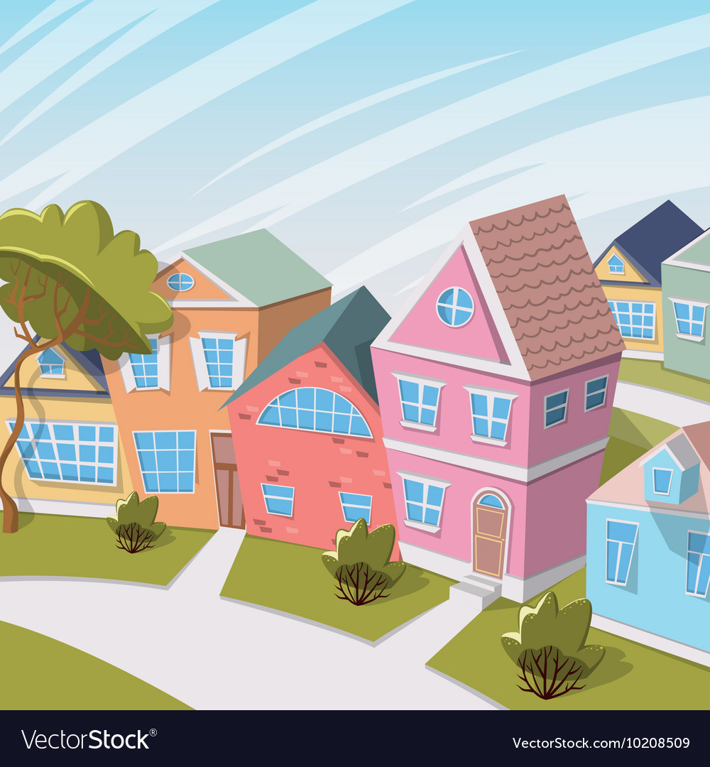 Cartoon city landscape with houses and trees vector
