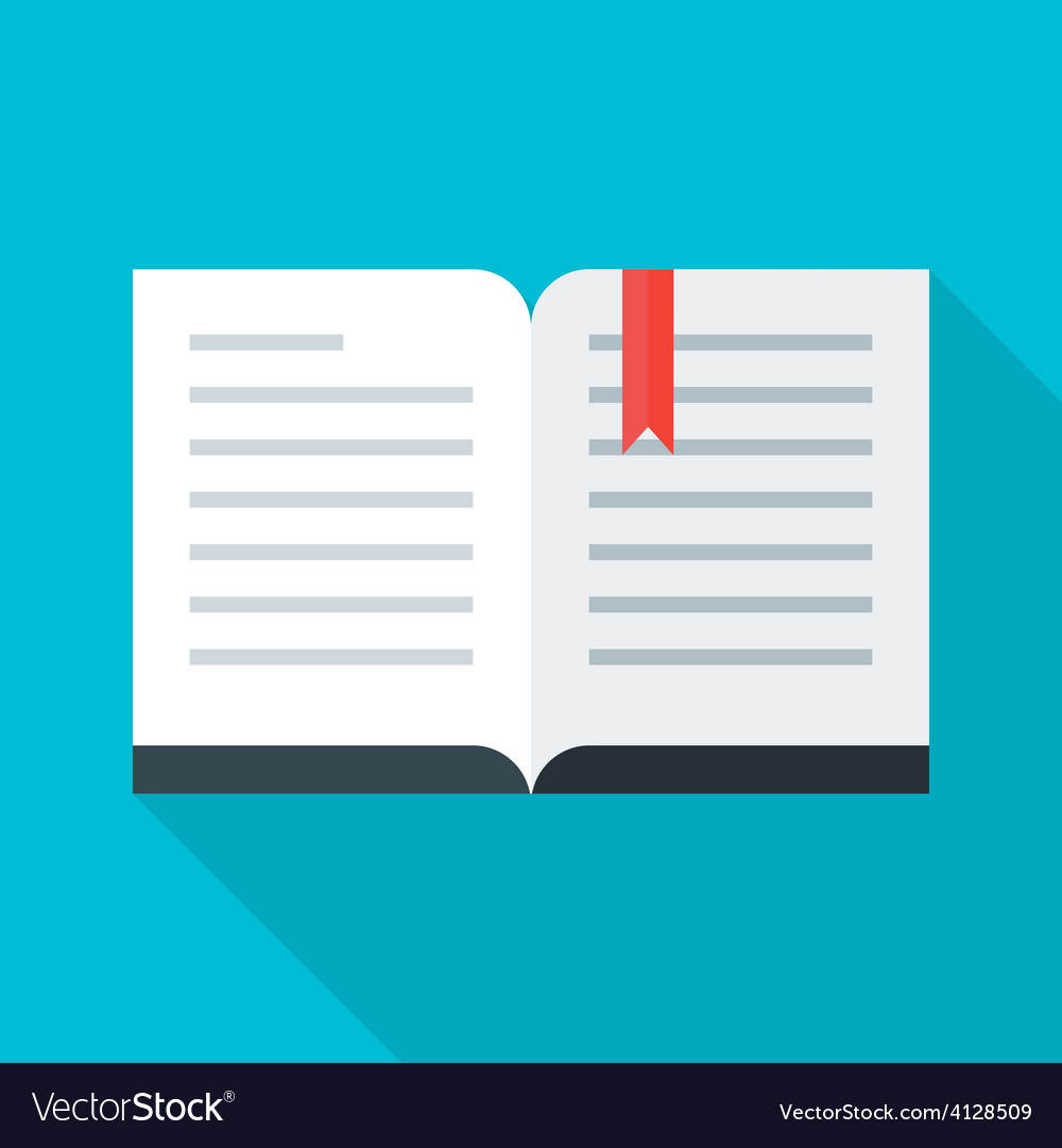 Flat stylized open book vector