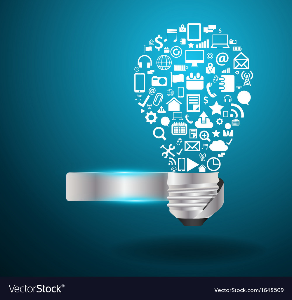 Light bulb idea with social media application icon vector