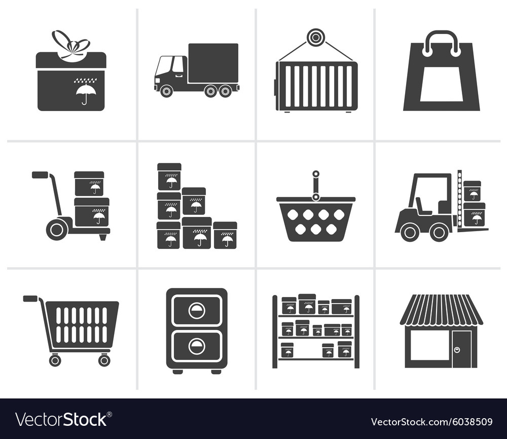 Silhouette storage transportation cargo vector