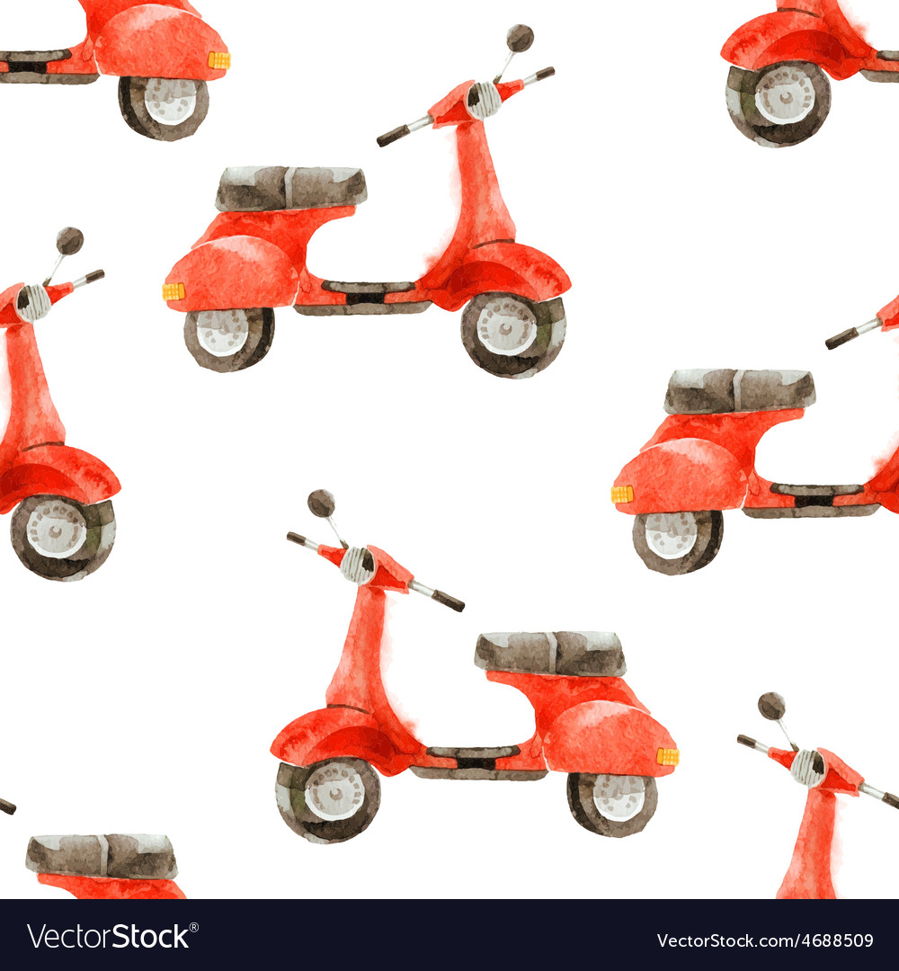 Watercolor seamless pattern with scooter vector