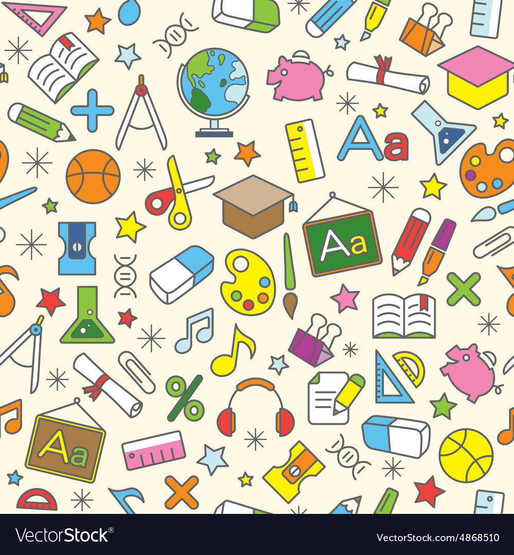 Education icons seamless pattern background vector