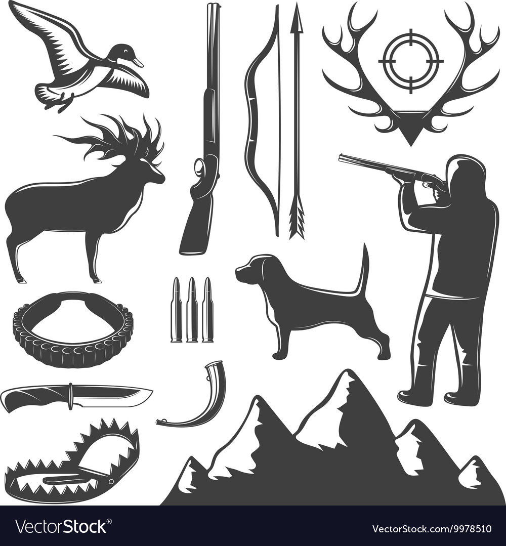 Hunting icon set vector