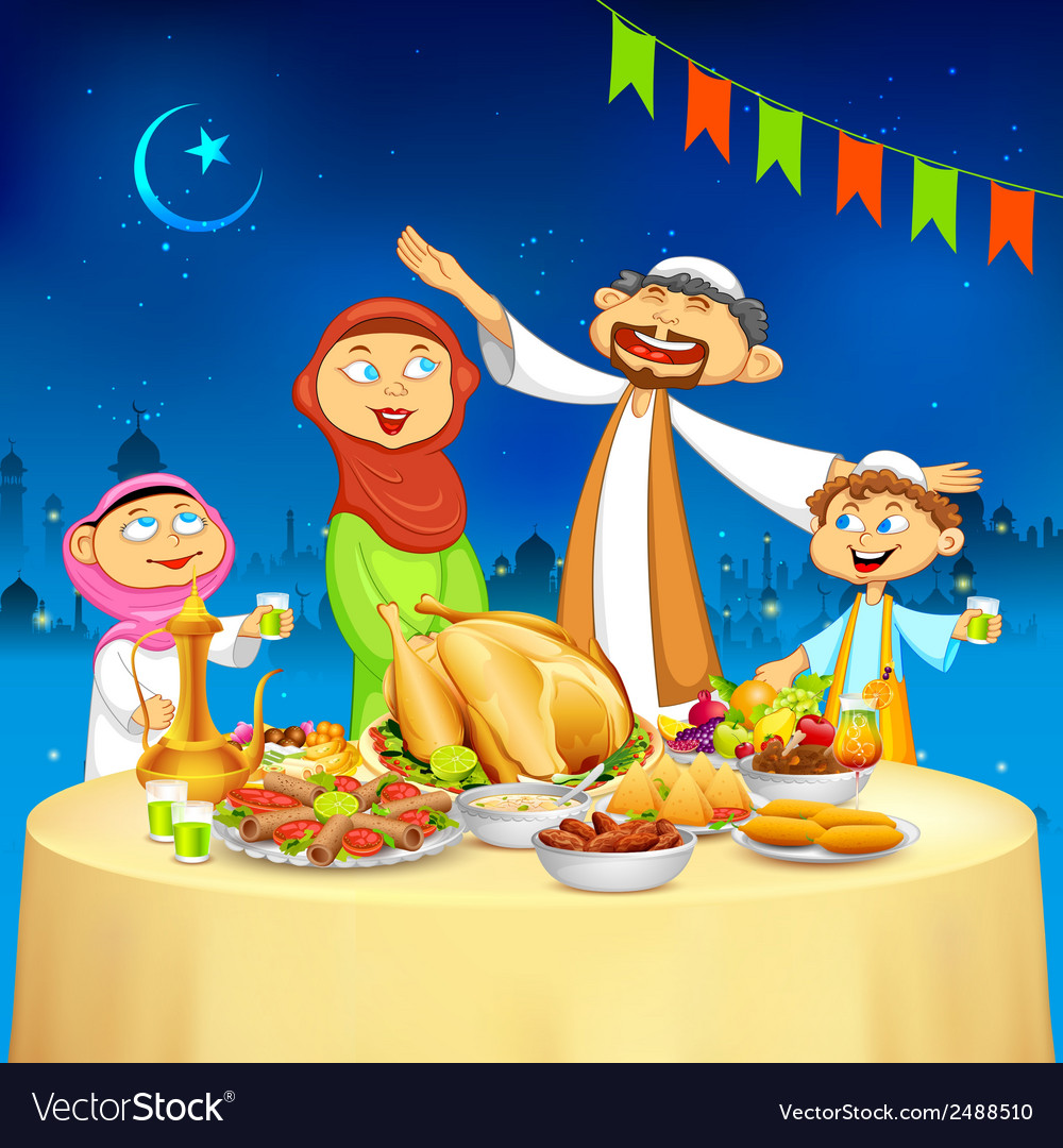 Muslim family in iftar party vector