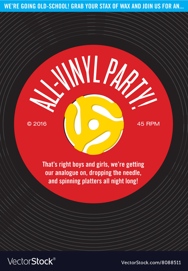 Allvinyl record party invitation vector