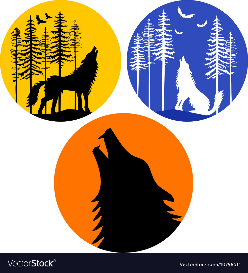 Howling wolf with moon set vector