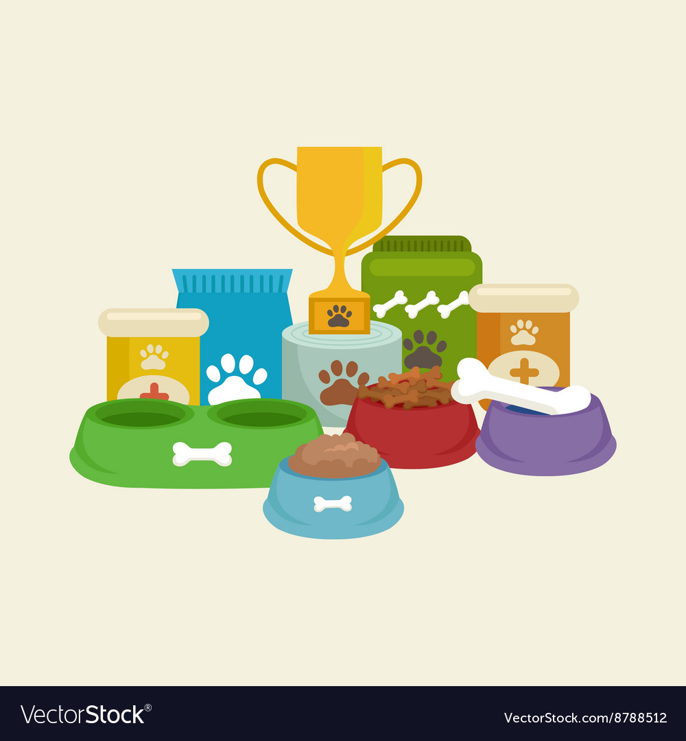 Pet shop dog goods and supplies store products vector
