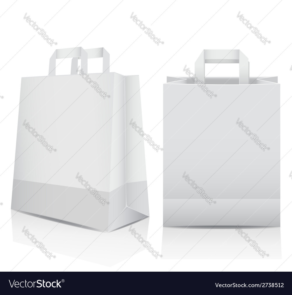 Two white shopping carrier bags vector