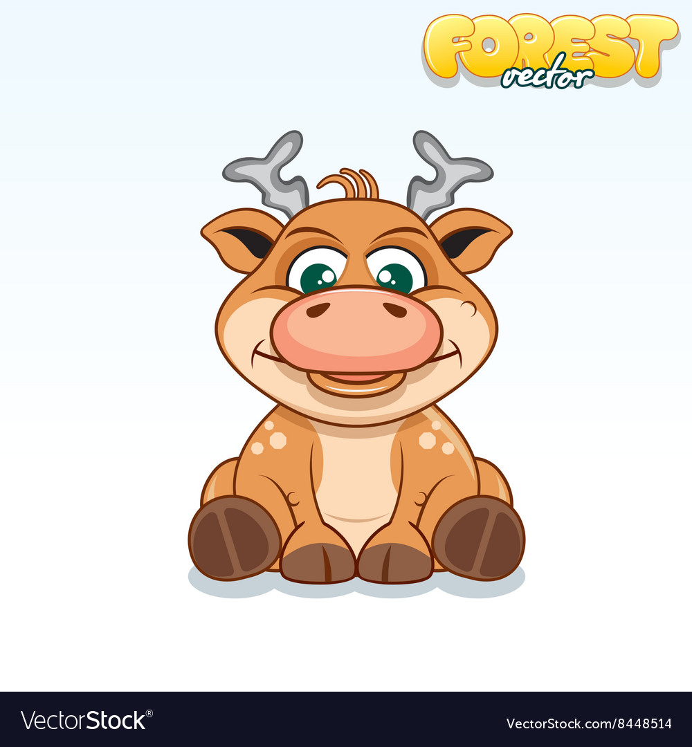 Cute cartoon axis deer funny animal vector