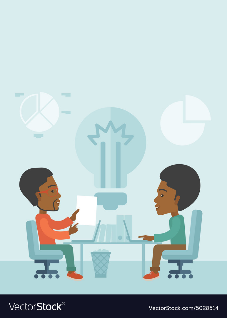 Two african businessmen sitting working together vector