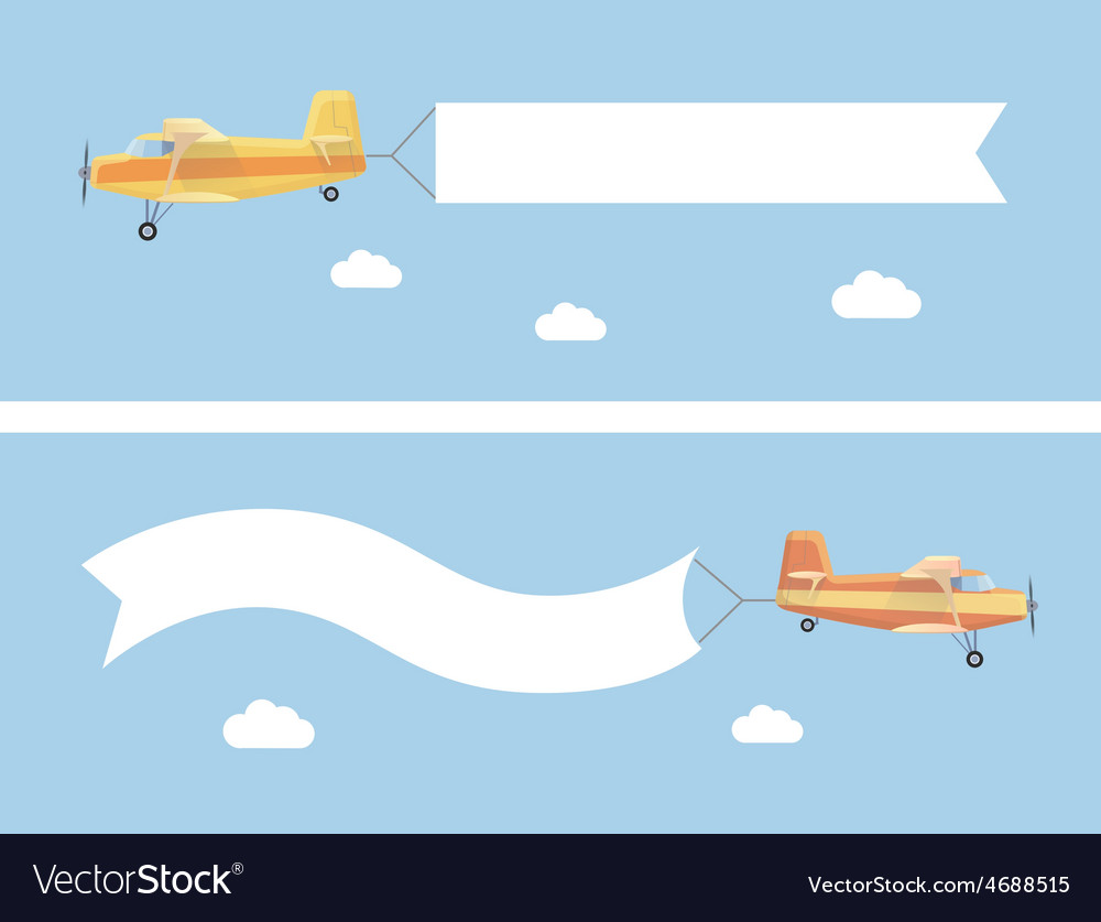 Flying vintage plane with the advertising banner vector