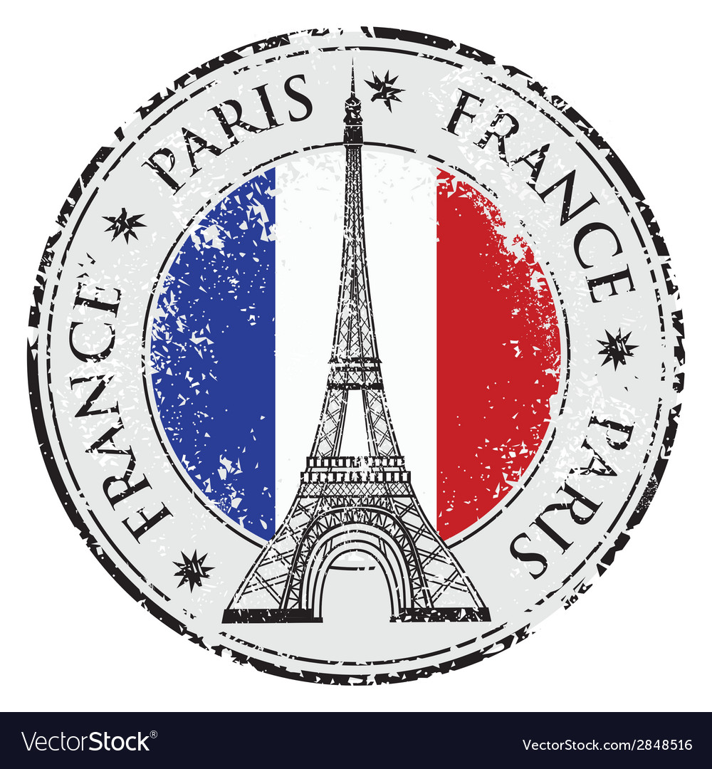 Paris town in france grunge flag stamp vector