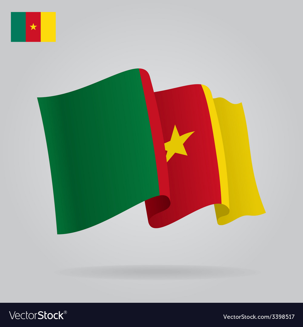 Background with waving cameroon flag vector