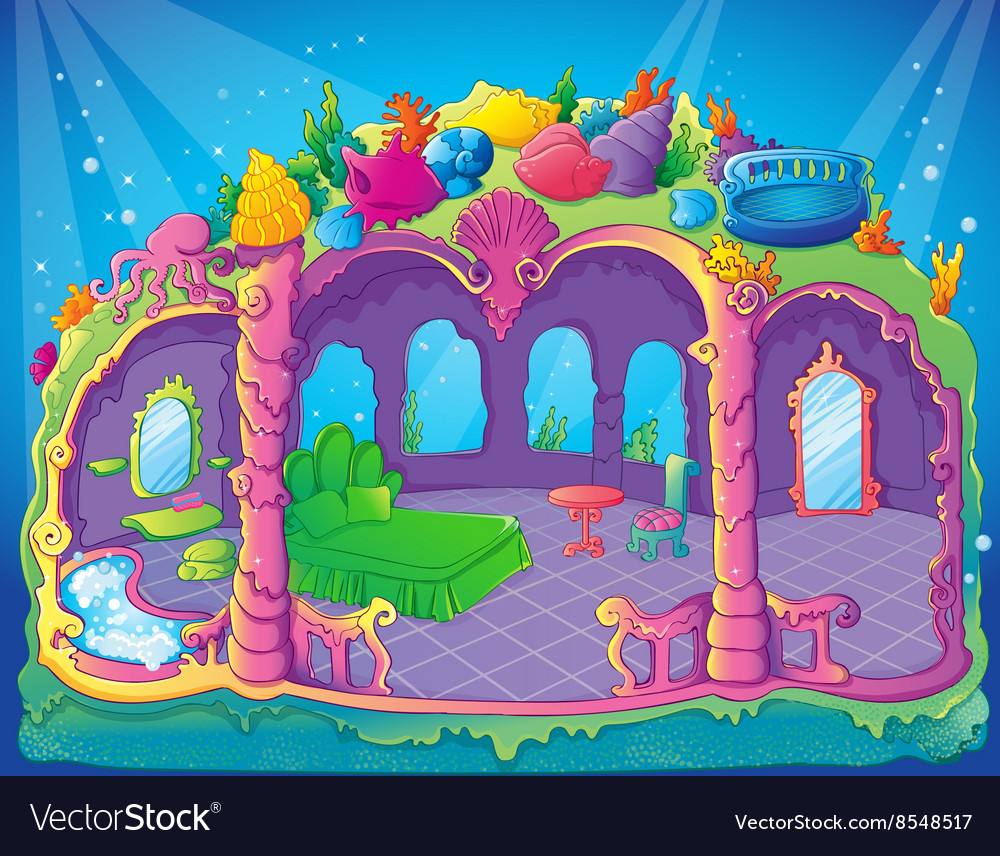 Fairytale luxury mermaid bedroom vector