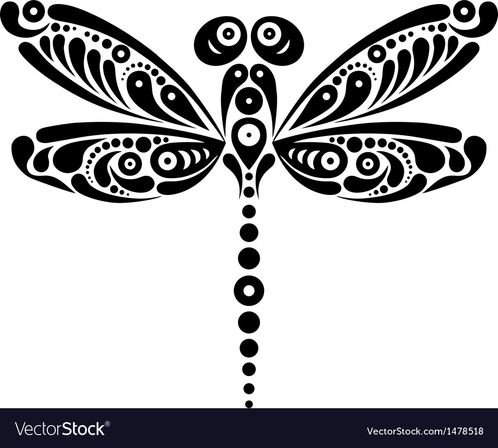 Black and white beautiful dragonfly tattoo vector