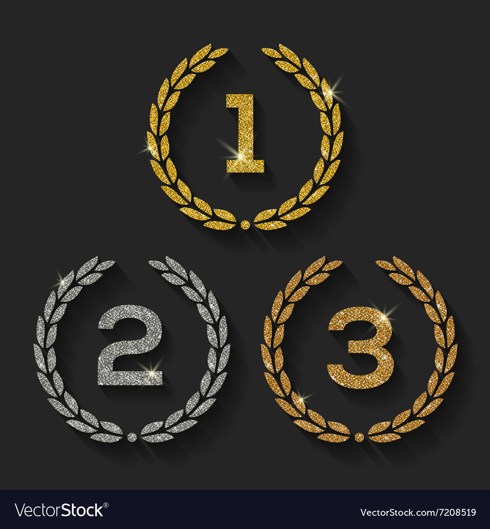Awards glitter golden emblems vector