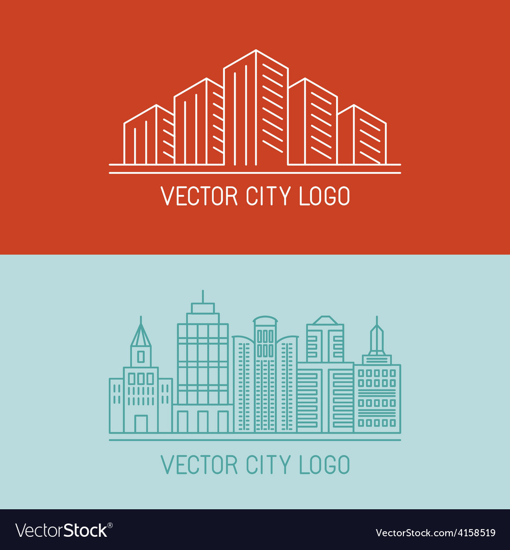 Linear city logo concepts vector