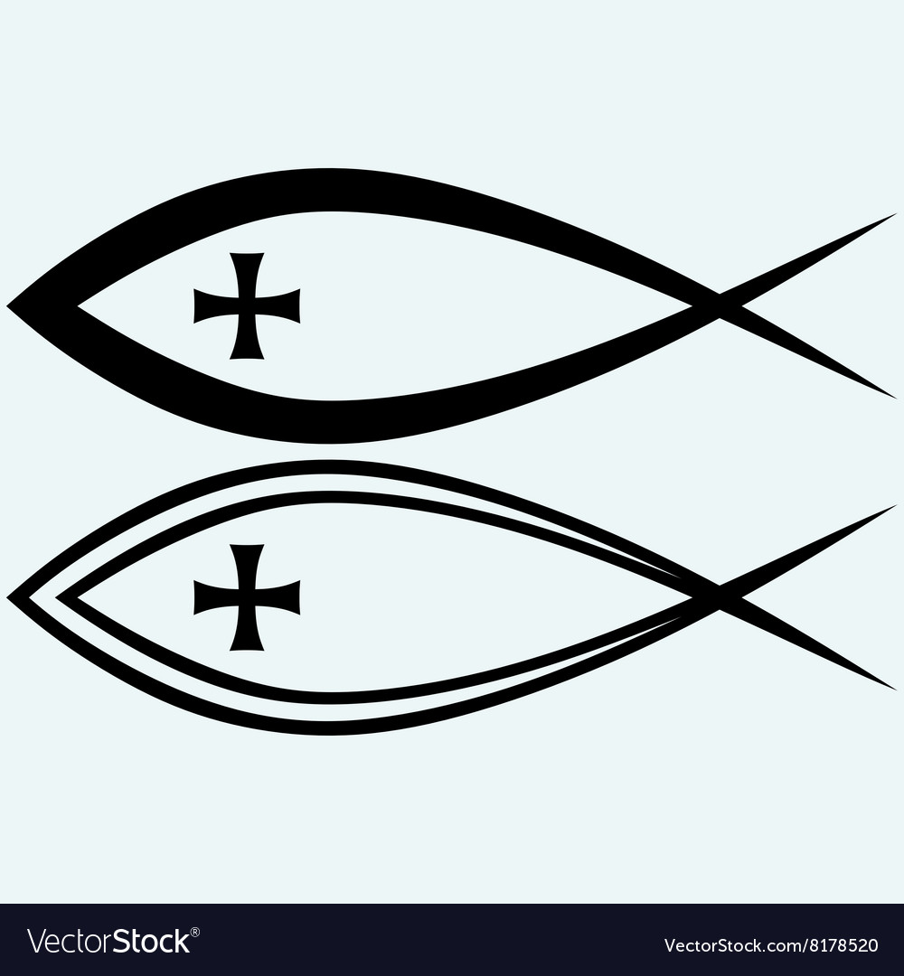 Christian fish symbol with cross vector