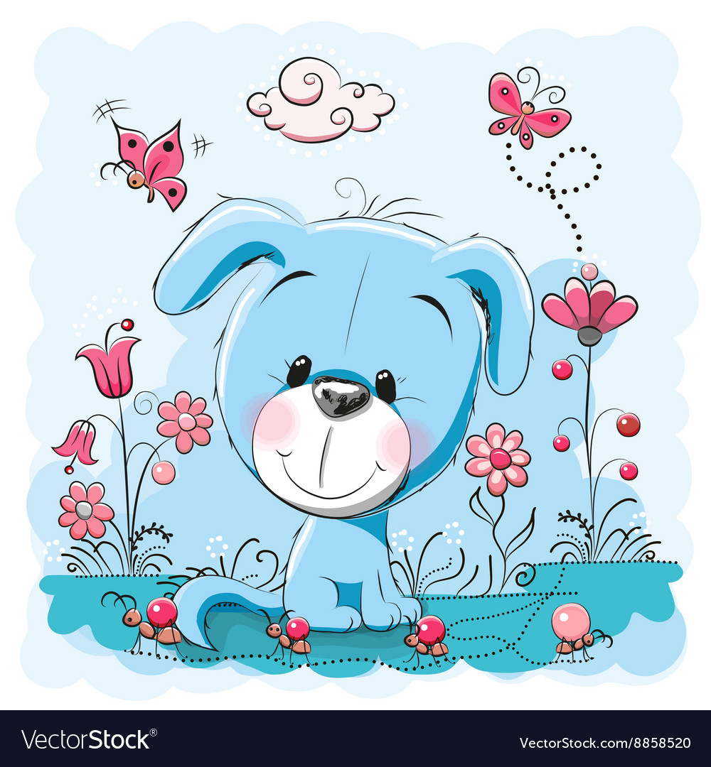 Dog with flowers vector