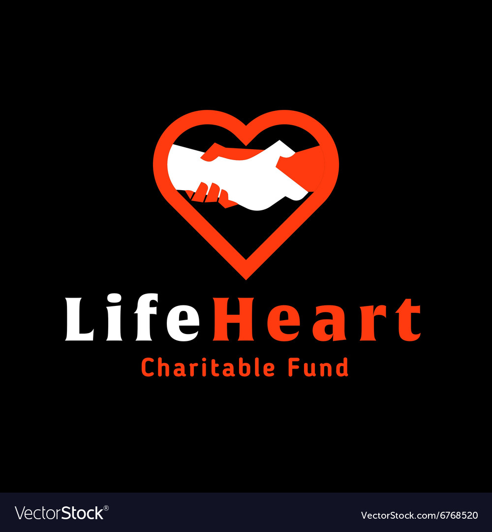 Logo helping hand life in the heart of charitable vector