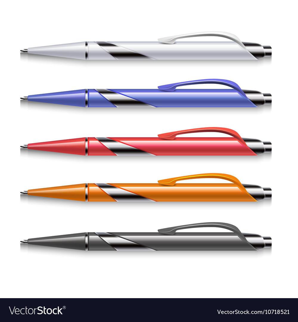 Colored office pens set vector