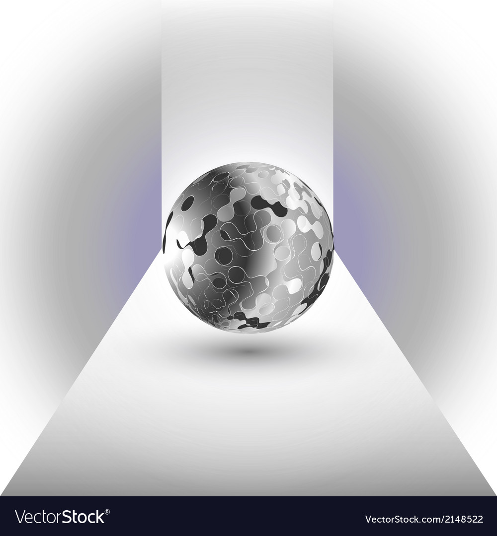 Abstract black sphere on a blue background vector