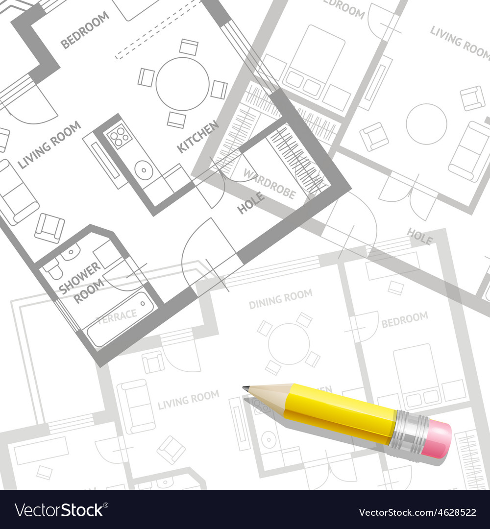 Furniture architect plan background flat vector