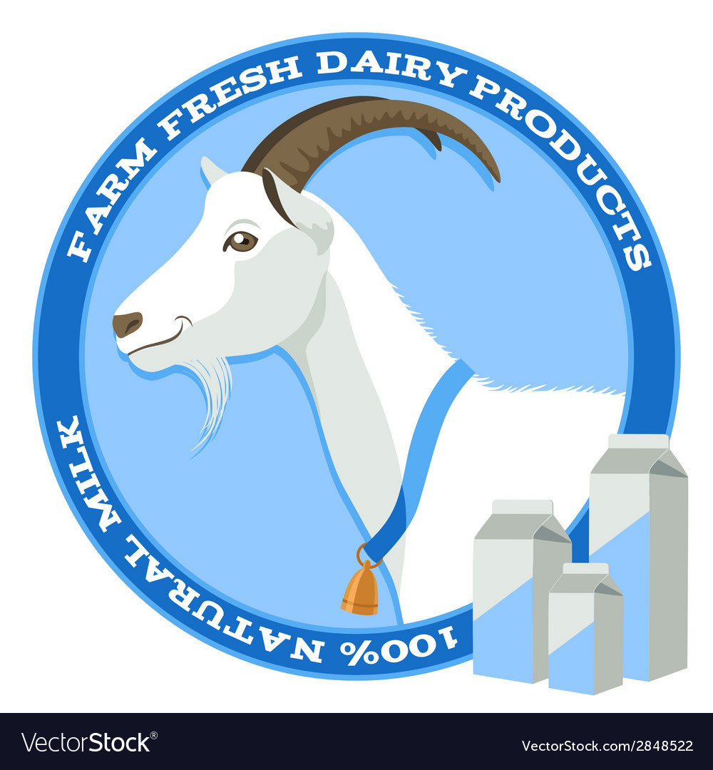 Goat and milk blue vector