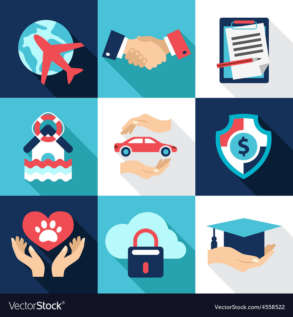 Insurance asset protection security flat style vector