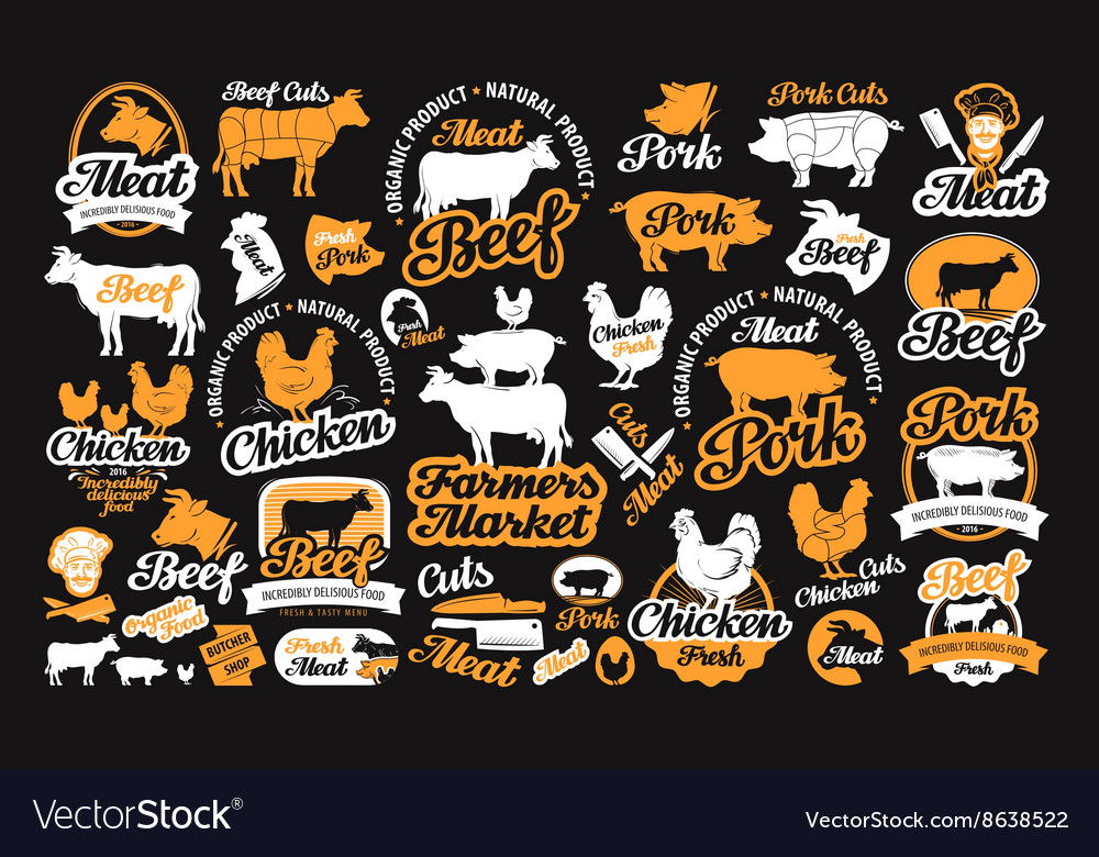 Set of butchery labels logos icons and vector