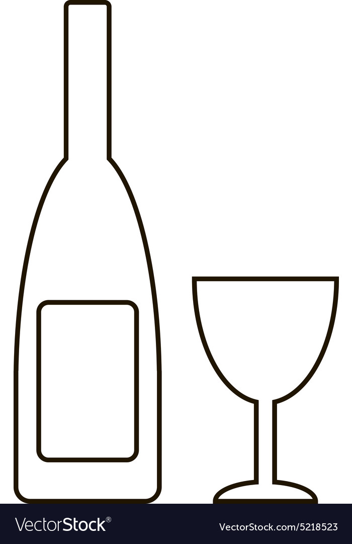 Bottle and glasse icon vector