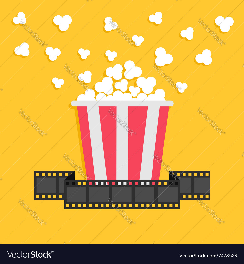 Popcorn film strip ribbon red yellow box cinema vector