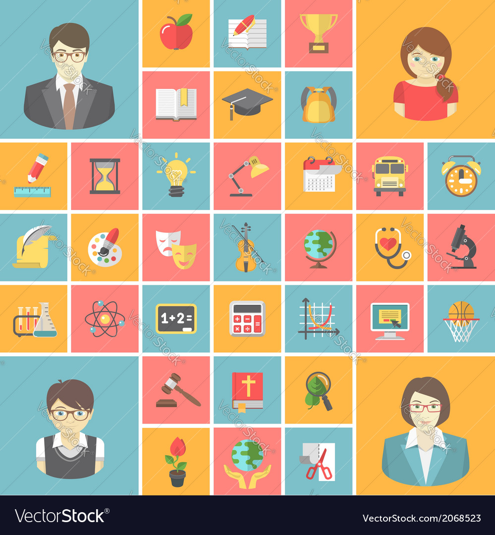Square school icons vector