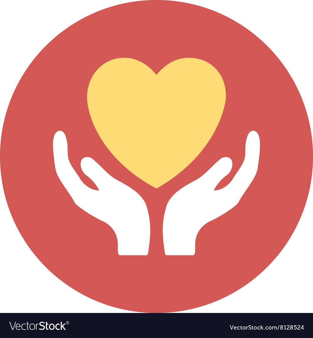 Heart care flat round icon vector