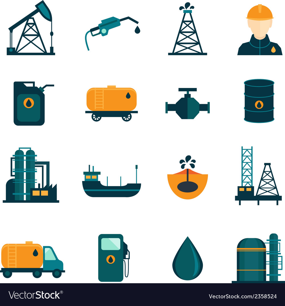 Oil industry flat icons vector