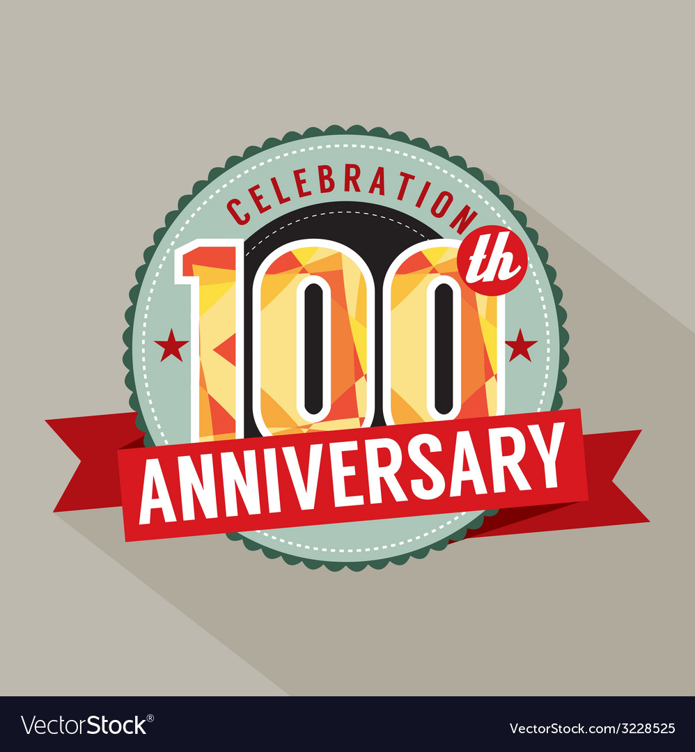 100th years anniversary celebration design vector